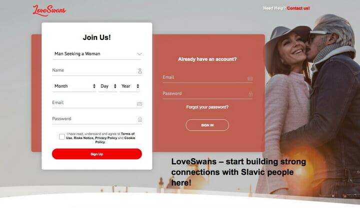 LoveSwans.com main page