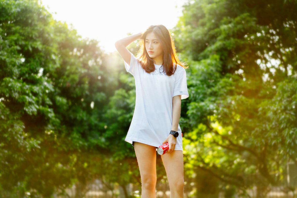 hot Korean girl with long legs